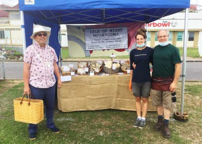 Michael Lilley Ryde Mayor Isle of Wight Mushrooms stall Ryde Buy Local August 2020