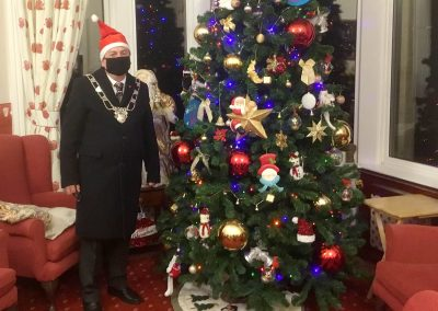 Michael Lilley Mayor of Ryde switching on Xmas Lights at St. Vincent's Care Home, Ryde, Isle of Wight December 2020.