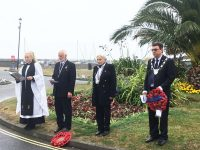 Michael Lilley Mayor of Ryde attends VJ Day 2020 at Ryde Esplanade, Isle of Wight