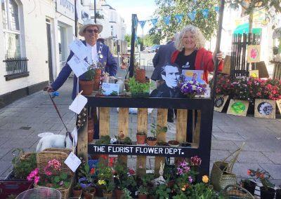 Michael Lilley Ryde Mayor with Julie Jones-Evans at Flower Market Ryde Historic Action Zone programme pedestrianisation