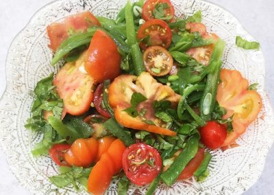Plate of salad from Michael Lilley's front garden vegetable patch promoting homegrown food