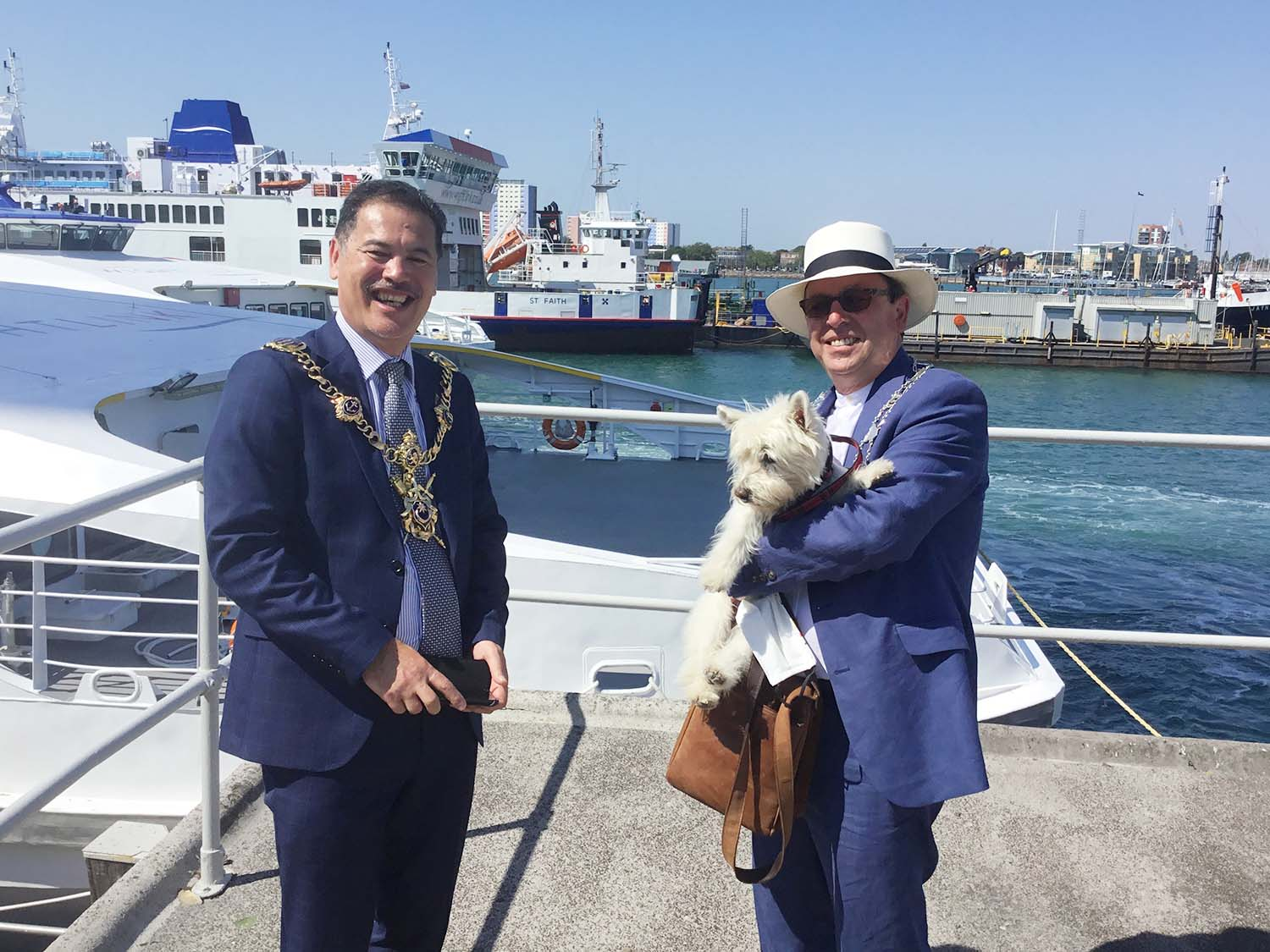 Michael Lilley Mayor of Ryde with Mayor of Portsmouth in Portsmouth Haarbour celebrating FastCat back in service after first Covid Lockdown 2020