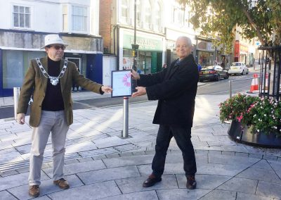 Michael Lilley Ryde Mayor in Ryde High Street receiving South East in Bloom Award 2020