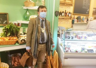 Michael Lilley Ryde Mayor inside shop supporting local businesses