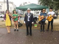 Michael Lilley Ryde Mayor with musicians Grimshaws at official launch Ticket to a Ryde Western Gardens Ryde Isle of Wight