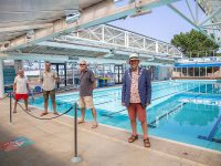 Michael Lilley Ryde Mayor and others at Waterside Pool Ryde Isle of Wight celebrating receiving funding